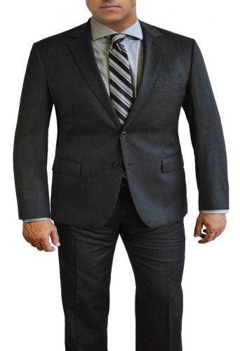 Deep Charcoal Windowpane Plaid All Wool Designer Suit by Daniel Hechter to Size 58R and 58L