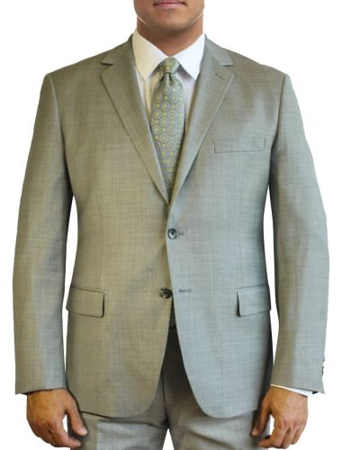 Tan Sharkskin Finish All Wool Designer Suit by Daniel Hechter to Size 58R and 58L