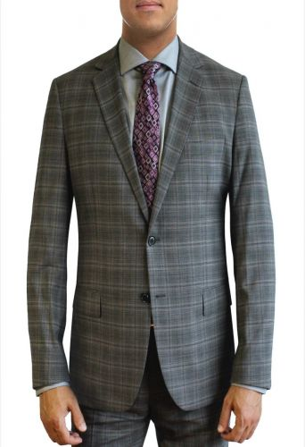 Grey Windowpane Plaid All Wool Designer Suit by Daniel Hechter to Size 58R and 58L