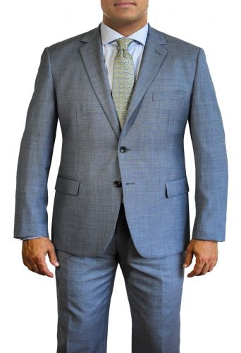 Light Blue Sharkskin Finish All Wool Designer Suit by Daniel Hechter to Size 58R and 58L