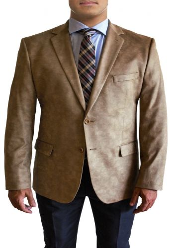 Designer Stretch Leather Like Microfiber Sport Coat in 4 Colors by Daniel Hechter to Size 58R & 58L