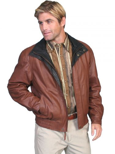 Double Collar Lighter Weight Leather Jacket to 4XT and 5X