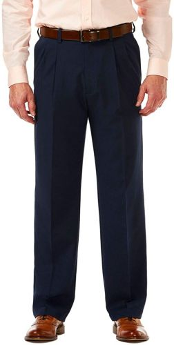 Big and Tall Haggar Microfiber Pleated Pants to Size 60
