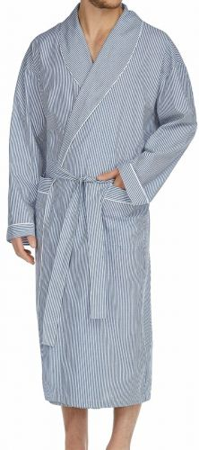 Luxury Blue Stripe All Cotton Robe to Size 5XT and 6XB