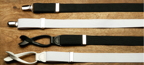 Black and White Clip On or Button Suspenders