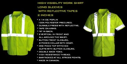High Visibility Work Shirt with Reflective Tape in Short or Long Sleeve