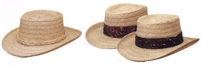 Straw Hat with Raffia or Batik Print Band