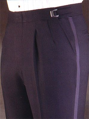 Tuxedo Trouser in Wool or Polyester