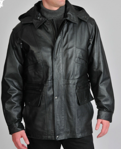 Zipper Leather Car Coat with Removable Zip Out Lining